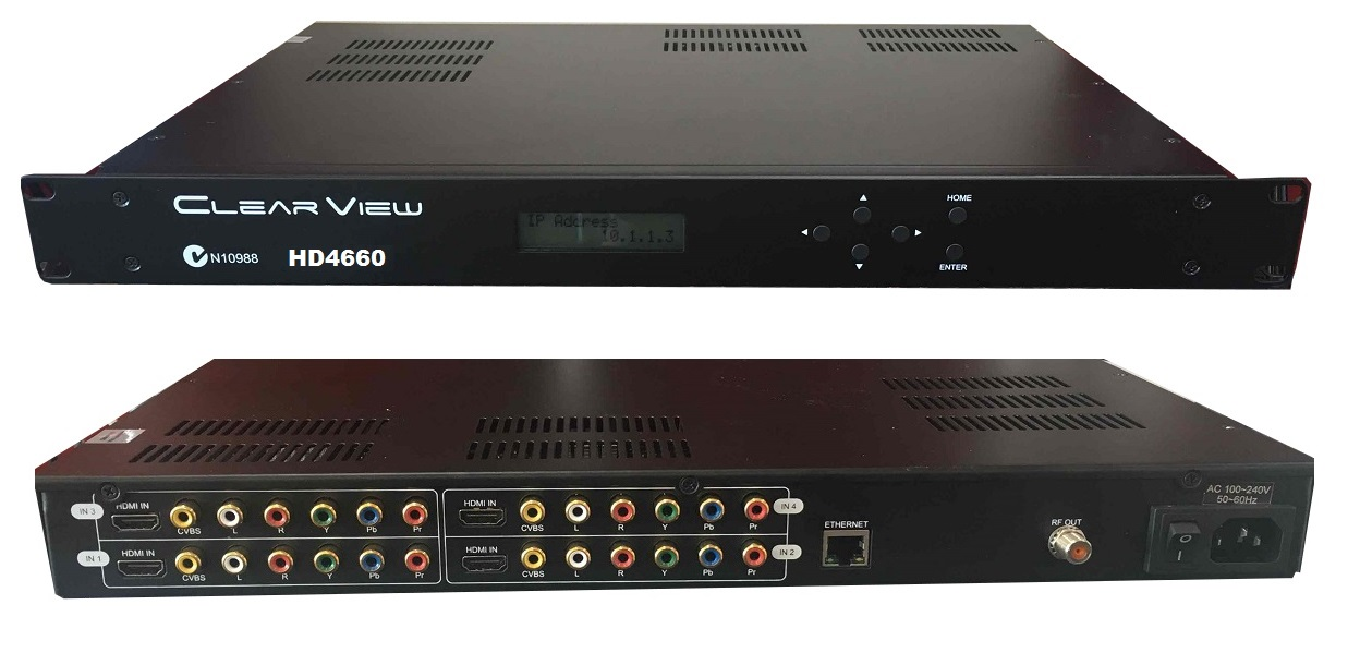 ClearView HD4660 Full HD (in MPEG4) Quad DVBT Moduator Mpeg2/4 H